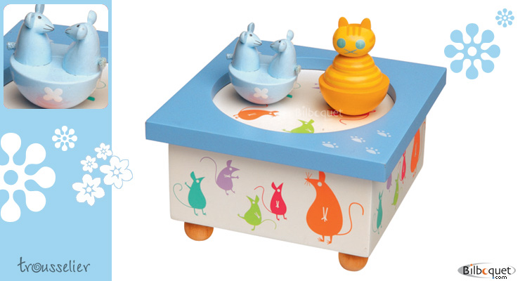 Cat And Mouse Musical Wooden Box Trousselier
