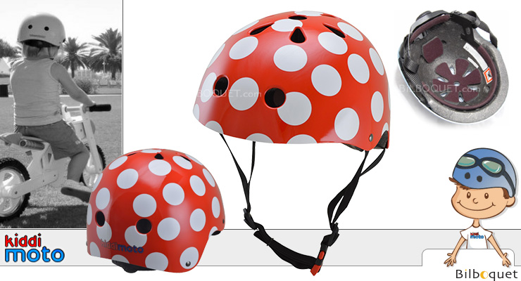 Helmet Red and Dotty - Size S (2-5 years) Kiddimoto