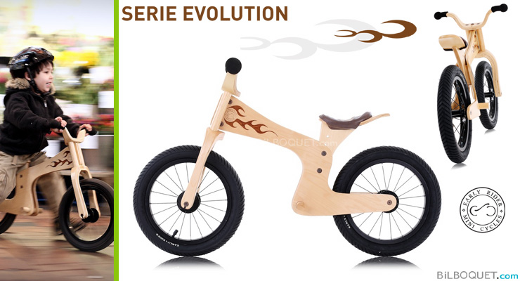 Evolution wooden bike, 3.5 years + Early Rider