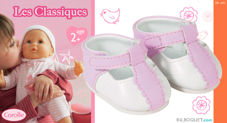 Chaussures blanches et roses 36 cm Corolle