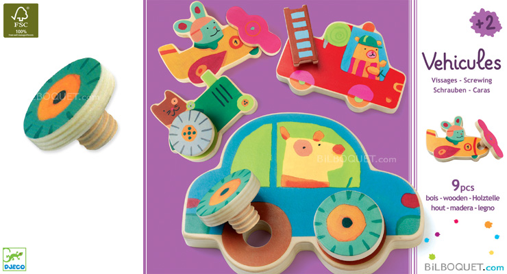 Véhicles screwing wooden toys Djeco