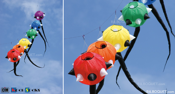 Spike Tail Set of 6 Windsocks Colours in Motion