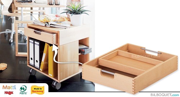 Drawer with insert for Matti desk rolling container Haba