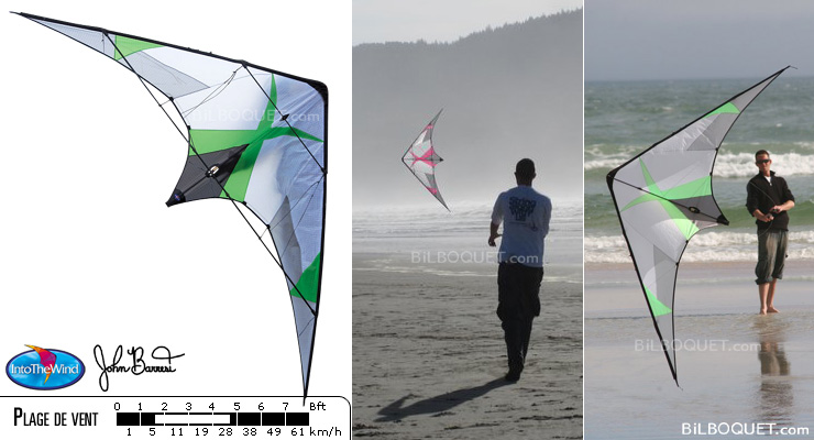 Kymera kite by John Barresi lime Into The Wind