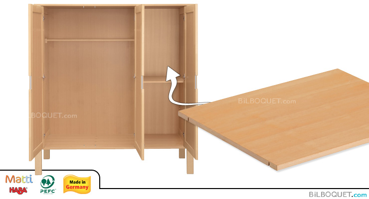 Shelf for Matti Wardrobe Cabinet 3-door narrow (inside right) Haba