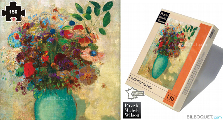 Flowers in a Turquoise Vase (Odilon Redon) Wooden Puzzle 150 pieces Puzzle Michèle Wilson