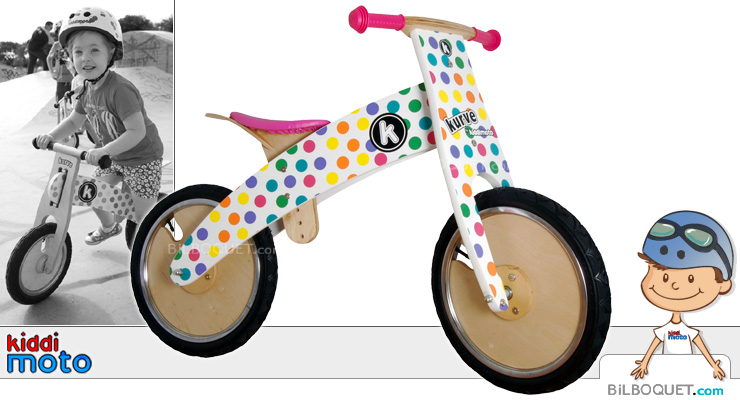 Pastel Dotty Kurve Balance Bike for kids Kiddimoto