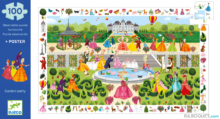 Observation Puzzle Garden-Party 100 pieces + poster Djeco