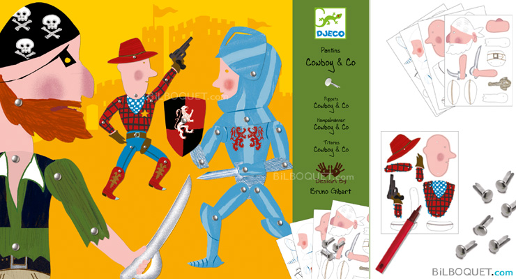 Paper Puppets Cowboy & Co Design by Bruno Gilbert Djeco