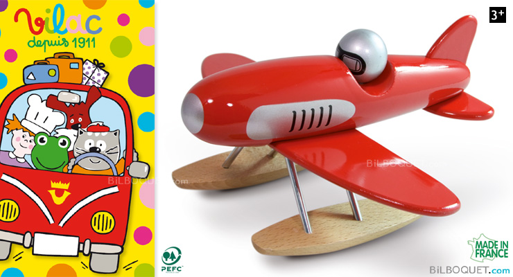 Lacquered Wood Red Seaplane Vilac