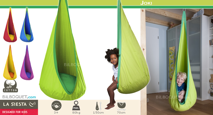 Joki Hanging Crow's Nest for kids froggy (green) La Siesta Hammocks