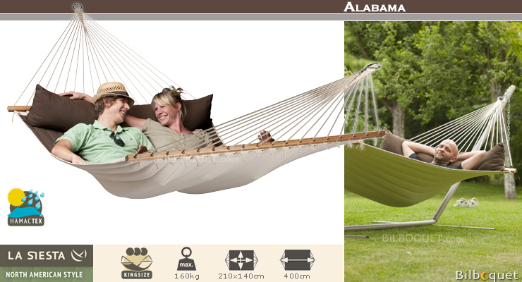 North American Style Alabama Double Kingsize Hammock with spreader arabica (coffee) La Siesta Hammocks