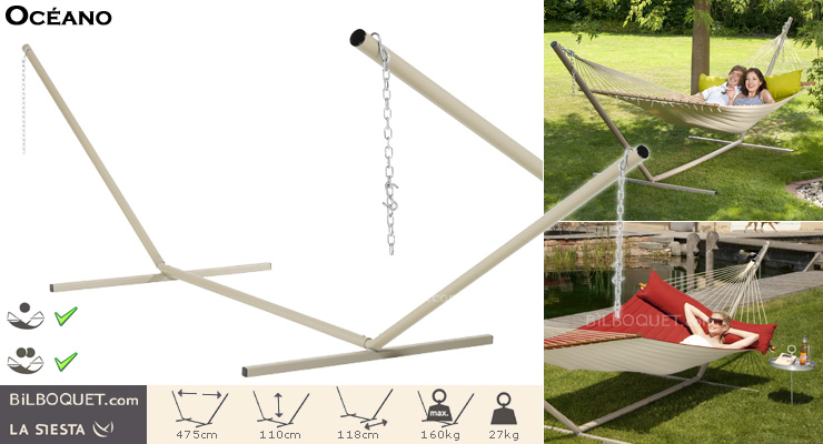 Océano Stand for Hammocks with Spreader Bars beige La Siesta Hammocks