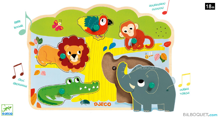 Wooden Sound Puzzle Baobab Animals of the savannah Djeco