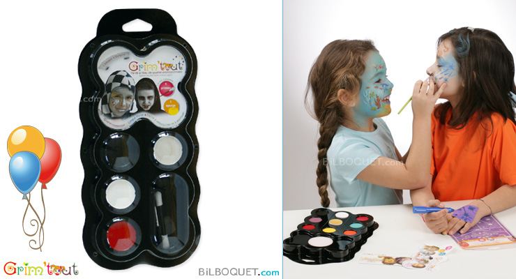 Water-base face and body paint 4 colours Knight & Vampire Grim'tout