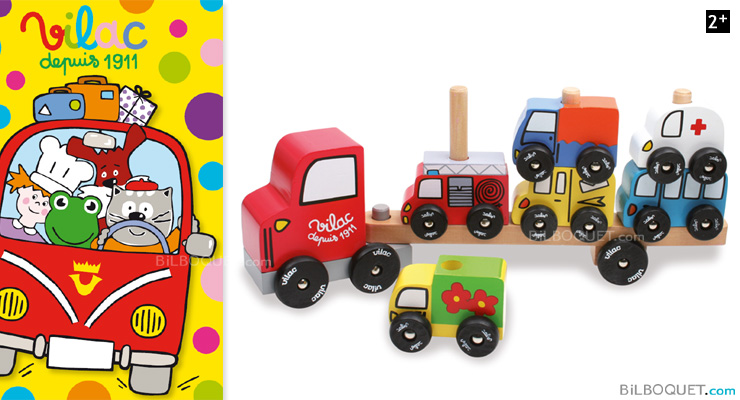 Empil'Auto Wooden truck and cars Stacking Vilac