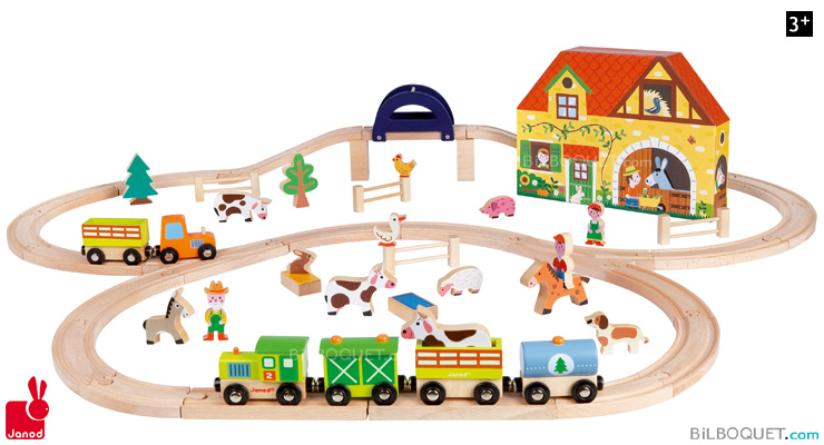 Story Express Farm Wooden Railway Set Janod