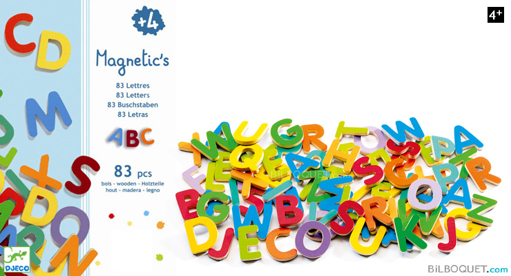 83 small wooden magnetic letters - Magnetic's Djeco