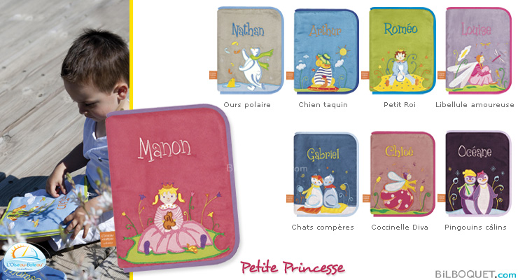 Health book cover with embroidered first name - Little Princess L'Oiseau Bateau