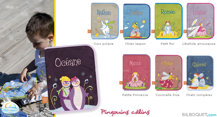 Health book cover with embroidered first name - Cuddling Penguins L'Oiseau Bateau