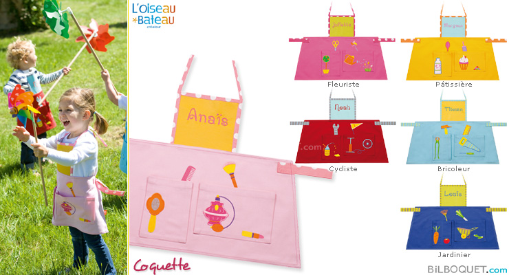 Apron with embroidered first name - Coquette L'Oiseau Bateau