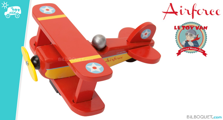 Red Sky Flyer Biplane Wooden Toy Le Toy Van