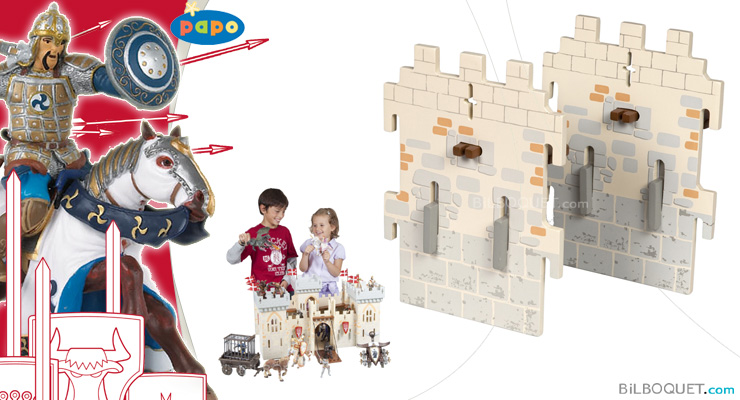 2 small walls - Expansion pack for Weapon Master Castle Papo