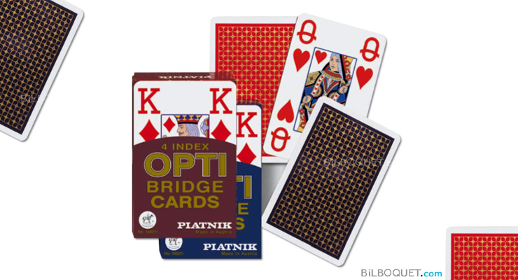 Jeu de cartes de bridge - 4 index Opti Piatnik