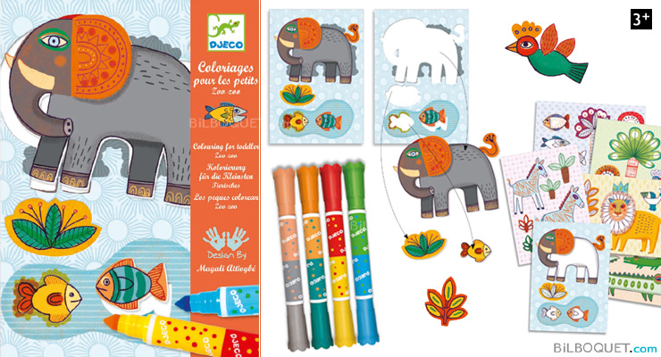 Colouring-in activity for kids - Zoo zoo Design by M. Attiogbé Djeco