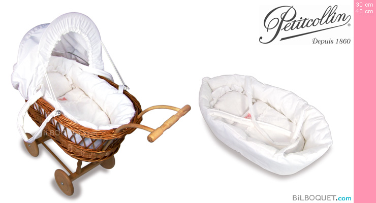 Large Doll Wicker Pram with removable doll basket Petitcollin