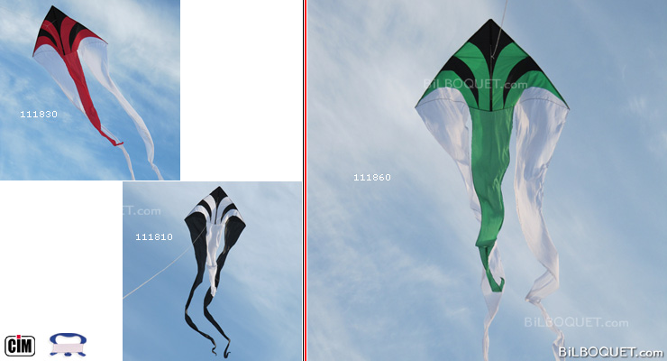 F-Tail Dart noir/vert Grand cerf-volant monofil Colours in Motion