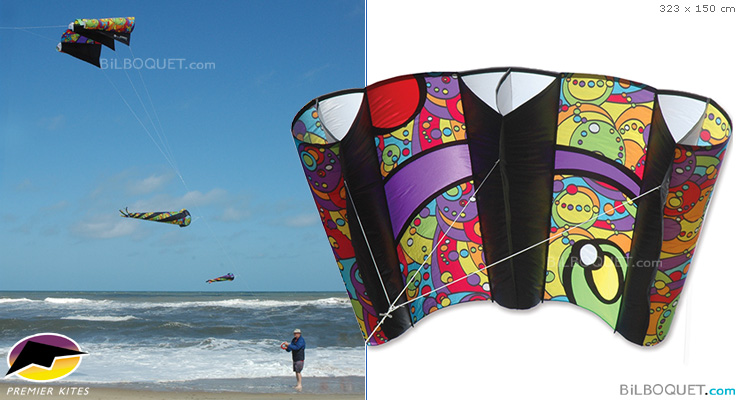 Jumbo Power Sled 36 Rainbow Orbit 323x150cm Premier Kites & Designs