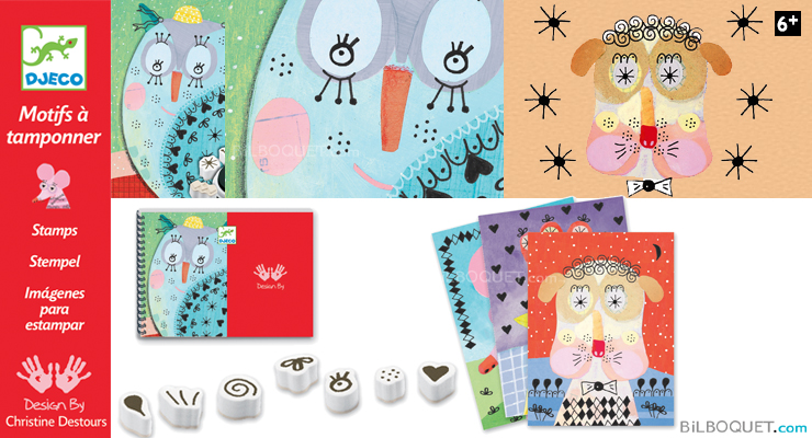 Stamps Fur and feathers Design by Christine Destours Djeco
