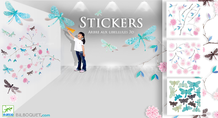 Stickers en volume Arbre aux libellules Little Big Room by Djeco