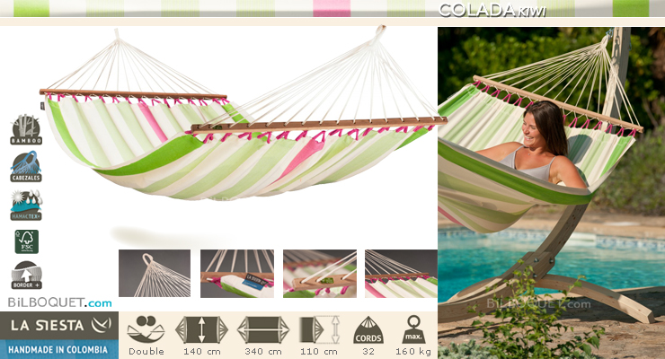 Colada Double Hammock with spreader bars Kiwi La Siesta Hammocks