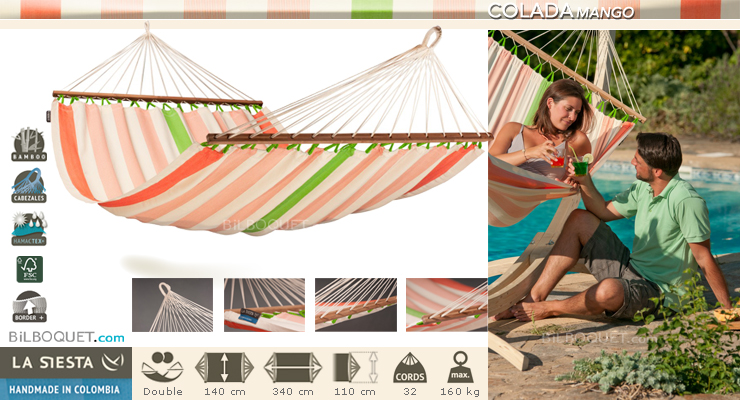 Colada Double Hammock with spreader bars Mango La Siesta Hammocks