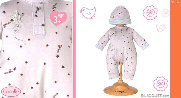 Grey star pyjamas & hat for 36cm small baby doll Corolle