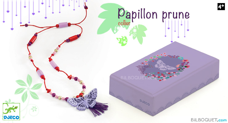 Plum Butterfly Necklace with wooden beads Djeco