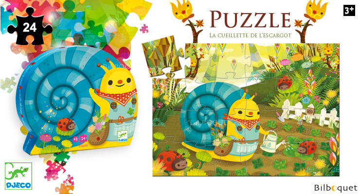 Silhouette puzzle Snail goes plant picking (24 pieces) Djeco