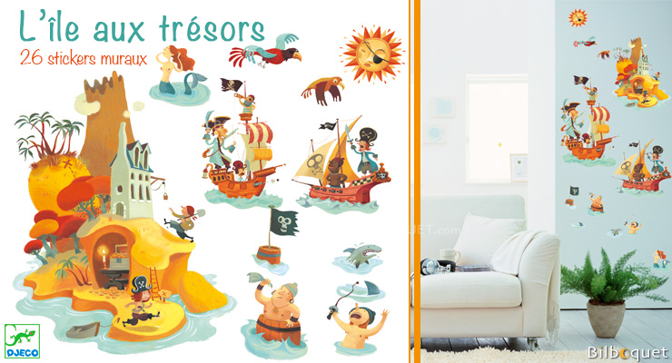 Treasure island repositionable stickers Little Big Room by Djeco