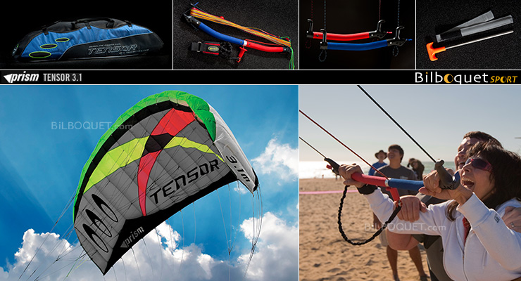 Tensor Power Kite with handles & control bar 3.1m² Prism Kites