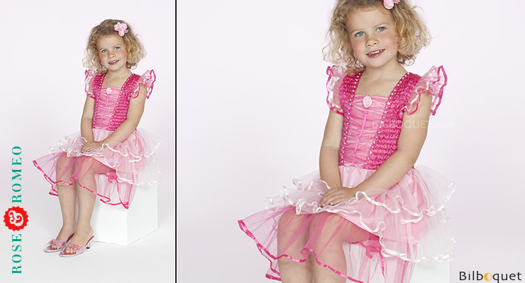 Pink-fuchsia Dress Aisha - Costume for kids age 5-7 Rose & Romeo