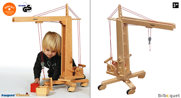 Large Crane with with rotating tower Wooden Toy Fagus Wooden Toys