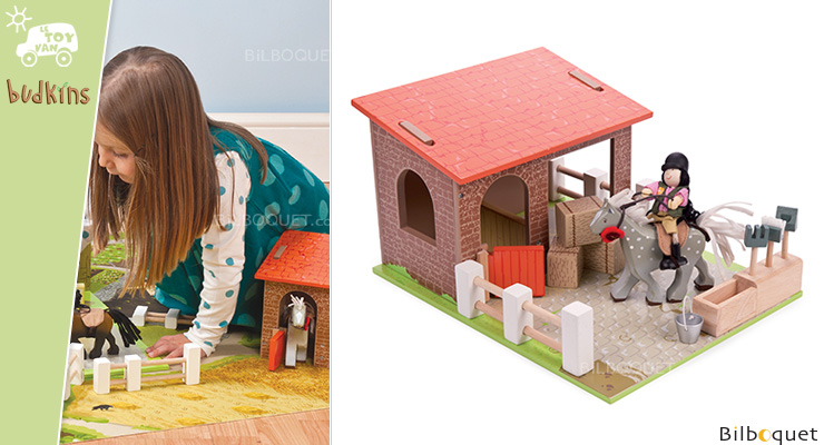 Budkins Stables with horse - Wooden Toy Le Toy Van
