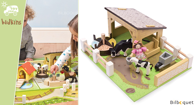 Budkins Yellow Barn with cows - Wooden Toy Le Toy Van