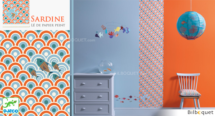 Wallpaper strip Sardines Little Big Room by Djeco