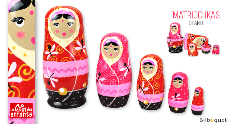 Russian nesting dolls Shanti - Pink Wooden Matryoshkas Le Coin Des Enfants