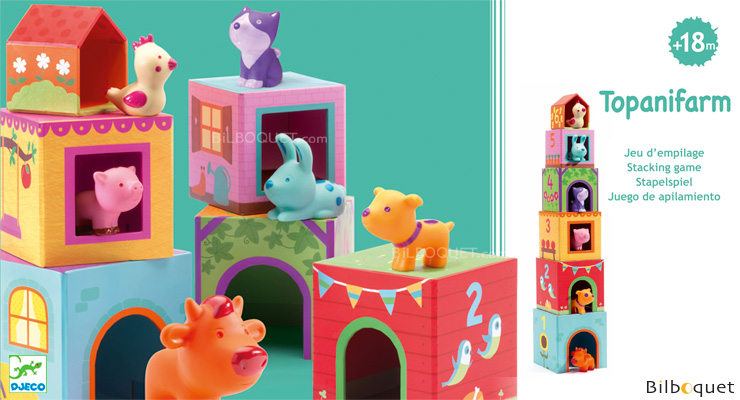 Topanifarm cubes and stacking animals Djeco
