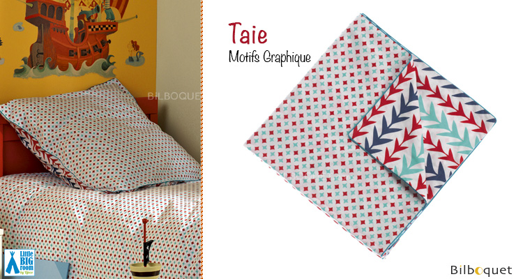 Taie d'oreiller motifs Graphique 63x63cm Little Big Room by Djeco
