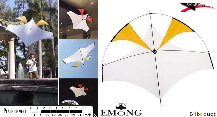EMONG cerf-volant monofil pilotable jaune Flying Wings
